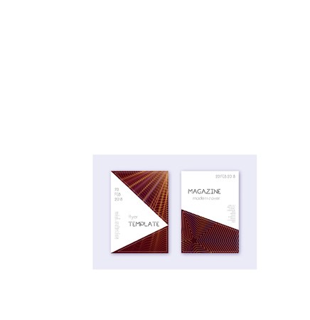Triangle cover design template set. Orange abstract lines on wine red background. Incredible cover design. Exotic catalog, poster, book template etc.