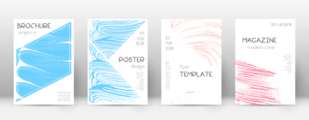 Cover page design template. Triangle brochure layout. Comely trendy abstract cover page. Pink and blue grunge texture background. Appealing poster. Çizim