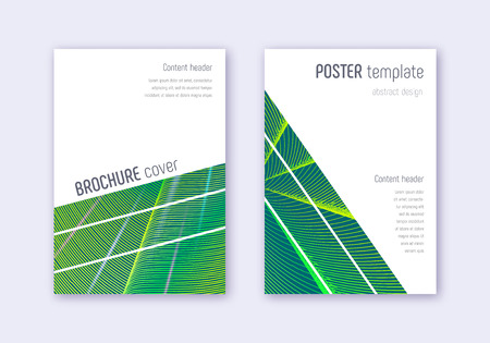 Geometric cover design template set. Green abstract lines on dark background. Breathtaking cover design. Delightful catalog, poster, book template etc. Çizim