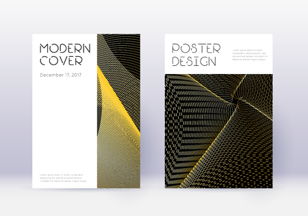 Minimal cover design template set. Gold abstract lines on black background. Curious cover design. Stylish catalog, poster, book template etc.