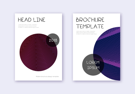 Trendy cover design template set. Violet abstract lines on dark background. Good-looking cover design. Immaculate catalog, poster, book template etc. Çizim