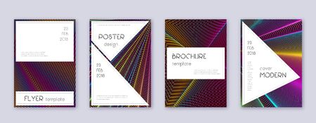 Stylish brochure design template set. Rainbow abstract lines on wine red background. Bewitching brochure design. Astonishing catalog, poster, book template etc.