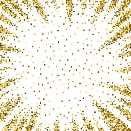 Gold glitter luxury sparkling confetti. Scattered small gold particles on white background. Amusing festive overlay template. Worthy vector illustration. Çizim