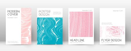 Cover page design template. Minimal brochure layout. Charming trendy abstract cover page. Pink and blue grunge texture background. Actual poster. 向量圖像