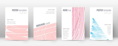 Cover page design template. Geometric brochure layout. Bold trendy abstract cover page. Pink and blue grunge texture background. Rare poster. 向量圖像
