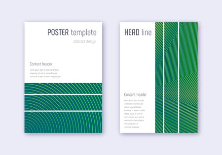 Geometric cover design template set. Green abstract lines on dark background. Bewitching cover design. Alive catalog, poster, book template etc.