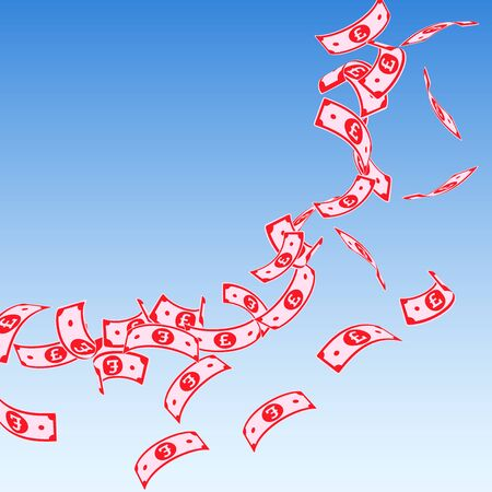 British pound notes falling. Floating GBP bills on blue sky background. United Kingdom money. Attractive vector illustration. Artistic jackpot, wealth or success concept.