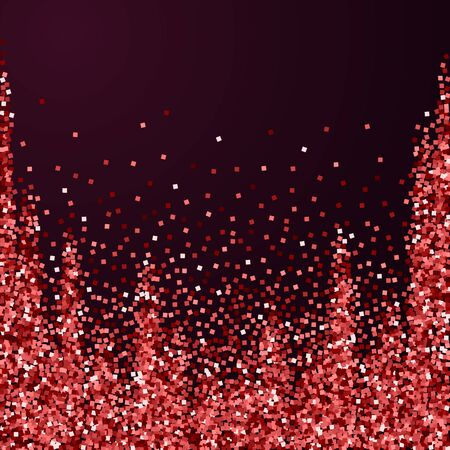 Red gold glitter luxury sparkling confetti. Scattered small gold particles on red maroon background. Adorable festive overlay template. Exceptional vector illustration.