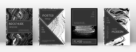 Cover page design template. Black brochure layout. Beauteous trendy abstract cover page. Black and white grunge texture background. Favorable poster. Ilustrace
