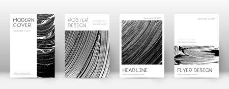 Modello di progettazione della pagina di copertina. Layout minimo della brochure. Accattivante copertina astratta alla moda. Priorità bassa di struttura del grunge in bianco e nero. Manifesto degno di nota.