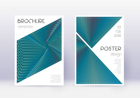 Triangle cover design template set. Red abstract lines on white blue background. Imaginative cover design. Unequaled catalog, poster, book template etc.