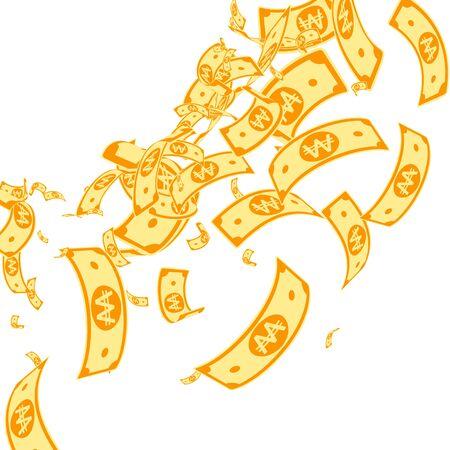 Korean won notes falling. Messy WON bills on white background. Korea money. Dazzling vector illustration. Rare jackpot, wealth or success concept.
