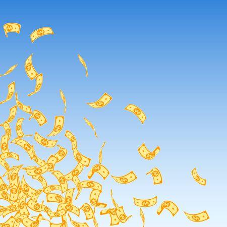 Korean won notes falling. Small WON bills on blue sky background. Korea money. Decent vector illustration. Sublime jackpot, wealth or success concept.