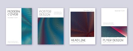 Minimal brochure design template set. Red abstract lines on white blue background. Artistic brochure design. Favorable catalog, poster, book template etc.