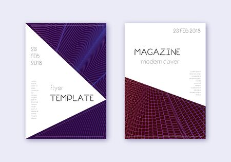 Triangle cover design template set. Violet abstract lines on dark background. Indelible cover design. Quaint catalog, poster, book template etc.