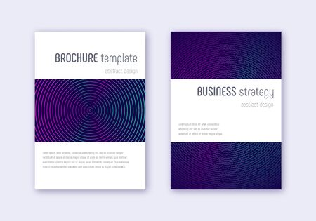 Minimalistic cover design template set. Neon abstract lines on dark blue background. Enchanting cover design. Favorable catalog, poster, book template etc. Ilustrace
