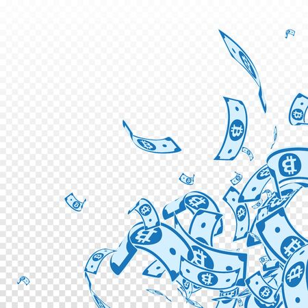 Bitcoin, internet currency notes falling. Messy BTC bills on transparent background. Cryptocurrency, digital money. Adorable vector illustration. Remarkable jackpot, wealth or success concept.