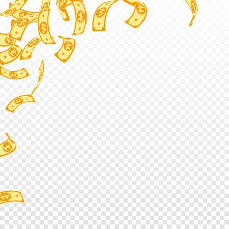 Korean won notes falling. Floating WON bills on transparent background. Korea money. Cute vector illustration. Flawless jackpot, wealth or success concept.