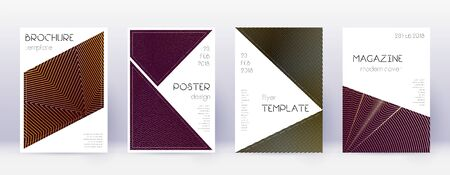 Triangle brochure design template set. Gold abstract lines on bordo background. Bold brochure design. Positive catalog, poster, book template etc.