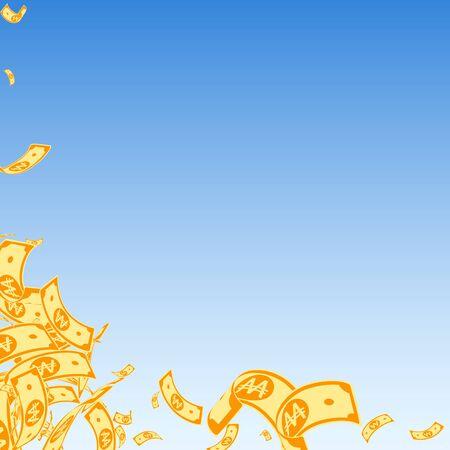 Korean won notes falling. Messy WON bills on blue sky background. Korea money. Cute vector illustration. Extra jackpot, wealth or success concept.