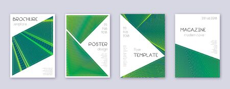 Triangle brochure design template set. Green abstract lines on dark background. Bold brochure design. Radiant catalog, poster, book template etc.