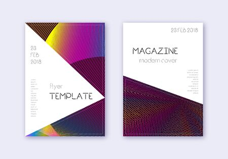 Triangle cover design template set. Rainbow abstract lines on wine red background. Indelible cover design. Enchanting catalog, poster, book template etc.