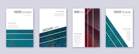 Geometric brochure design template set. Red abstract lines on white blue background. Alluring brochure design. Unusual catalog, poster, book template etc.