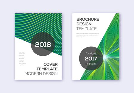 Modern cover design template set. Green abstract lines on dark background. Extra cover design. Stunning catalog, poster, book template etc. Çizim