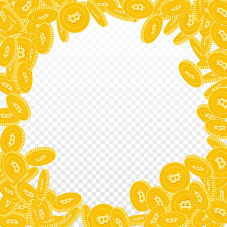 Bitcoin, internet currency coins falling. Scattered big BTC coins on transparent background. Grand round random frame vector illustration. Jackpot or success concept.
