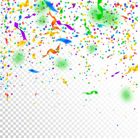 Streamers and confetti. Colorful tinsel and foil ribbons. Confetti falling rain on white transparent background. Awesome paty overlay template. Interesting celebration concept.