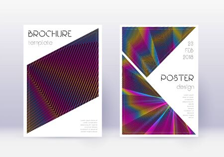 Triangle cover design template set. Rainbow abstract lines on wine red background. Imaginative cover design. Popular catalog, poster, book template etc.