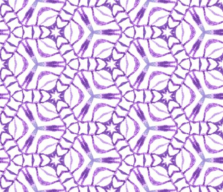 Purple geometric foliage seamless pattern. Hand drawn watercolor ornament. Radiant repeating tile. Wondrous fabric cloth, swimwear design, wallpaper, wrapping.
