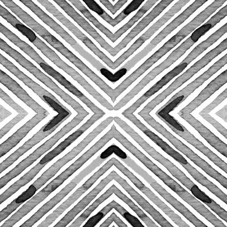 Black and white Geometric Watercolor. Creative Seamless Pattern. Hand Drawn Stripes. Brush Texture. Vibrant Chevron Ornament. Fabric Cloth Swimwear Design Wallpaper Wrapping.