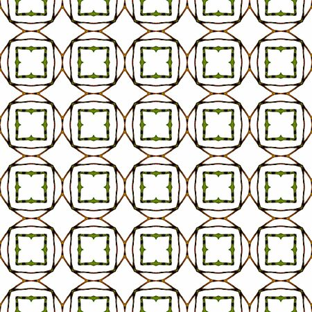 Orange green geometric seamless pattern. Hand drawn watercolor ornament. Attractive repeating design. Beautiful fabric cloth, swimwear design, wallpaper wrapping. Imagens