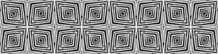 Dark black and white Seamless Border Scroll. Geometric Watercolor Frame. Alive Seamless Pattern. Medallion Repeated Tile. Radiant Chevron Ribbon Ornament.