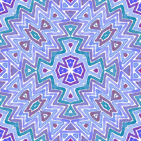 Blue Geometric Watercolor. Cute Seamless Pattern. Hand Drawn Stripes. Brush Texture. Quaint Chevron Ornament. Fabric Cloth Swimwear Design Wallpaper Wrapping.