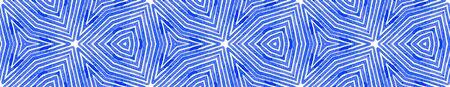 Blue Seamless Border Scroll. Geometric Watercolor Frame. Adorable Seamless Pattern. Medallion Repeated Tile. Grand Chevron Ribbon Ornament.
