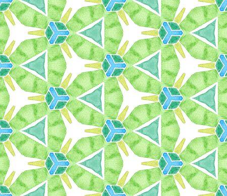 Blue green retro seamless pattern. Hand drawn watercolor ornament. Sightly repeating tile. Brilliant fabric cloth, swimwear design, wallpaper, wrapping.
