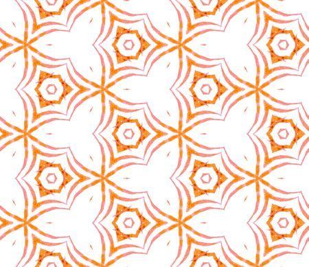 Orange handdrawn seamless pattern. Hand drawn watercolor ornament. Optimal repeating tile. Pleasant fabric cloth, swimwear design, wallpaper, wrapping.