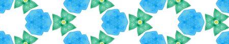 Blue green retro Seamless Border Scroll. Geometric Watercolor Frame. Dazzling Seamless Pattern. Medallion Repeated Tile. Bold Chevron Ribbon Ornament. Banco de Imagens