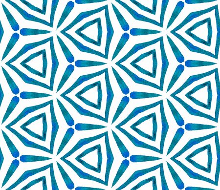 Blue kaleidoscope seamless pattern. Hand drawn watercolor ornament. Popular repeating tile. Enchanting fabric cloth, swimwear design, wallpaper, wrapping.