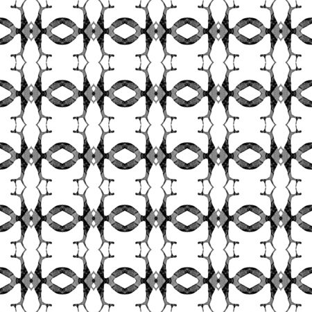 Black and white geometric seamless pattern. Hand drawn watercolor ornament. Alluring repeating design. Excellent fabric cloth, swimwear design, wallpaper wrapping. Stock Photo