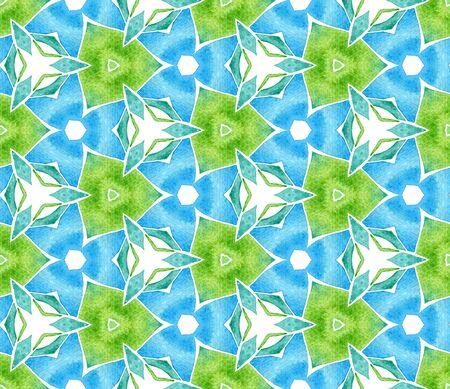 Blue green vintage seamless pattern. Hand drawn watercolor ornament. Ravishing repeating tile. Impressive fabric cloth, swimwear design, wallpaper, wrapping.