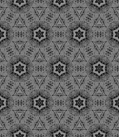 Black and white medallion allover seamless pattern. Hand drawn watercolor ornament. Bold repeating design. Modern fabric cloth, swimwear design, wallpaper wrapping.