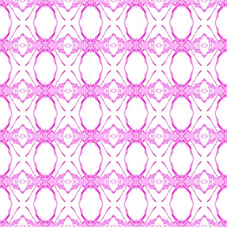 Pink geometric seamless pattern. Hand drawn watercolor ornament. Amusing repeating design. Stunning fabric cloth, swimwear design, wallpaper wrapping.