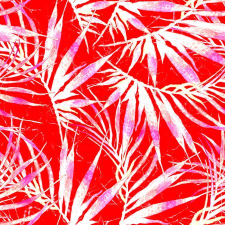 Tropical seamless pattern. Watercolor chaotic palm leaves, japanese bamboo. Red exotic swimwear design. Summer tropic repeated print. Optimal textile illustration.
