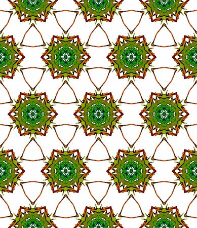 Orange green medallion seamless pattern. Hand drawn watercolor ornament. Bizarre repeating design. Remarkable fabric cloth, swimwear design, wallpaper wrapping.
