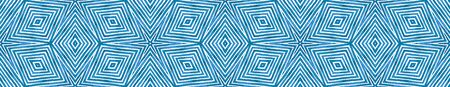 Blue Seamless Border Scroll. Geometric Watercolor Frame. Adorable Seamless Pattern. Medallion Repeated Tile. Attractive Chevron Ribbon Ornament. Imagens