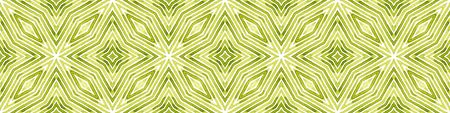 Green Seamless Border Scroll. Geometric Watercolor Frame. Amazing Seamless Pattern. Medallion Repeated Tile. Energetic Chevron Ribbon Ornament.
