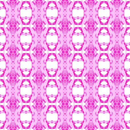 Pink geometric seamless pattern. Hand drawn watercolor ornament. Alluring repeating design. Magnificent fabric cloth, swimwear design, wallpaper wrapping.